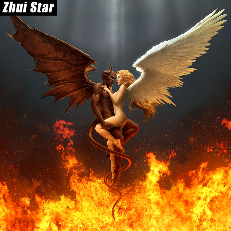 Zhui Star Full Square Diamond 5D DIY Diamond Painting Angel devil 3D Embroidery Cross Stitch Mosaic Painting Home Decor BK