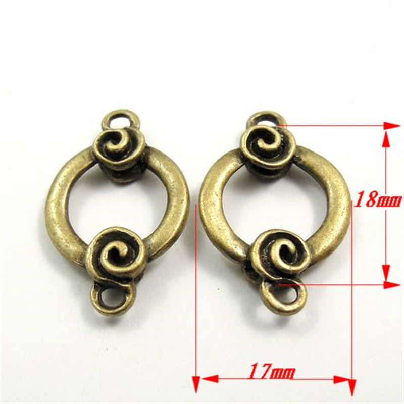 Antique Style Bronze Tone Circle Connector Alloy Charm Pendants 35pcs 18*17*5mm