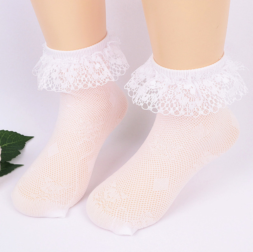 2 pairs Baby Girls Socks Cute Lace Ruffle Frilly Kids Princess Baby Girl Socks White Breathable Ultra Mesh Socks for Children