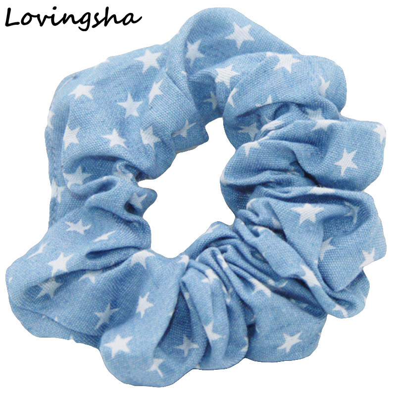 5Pcs/Lot Lady Hair Tie Ponytail Hair Holder Rope Hair Accessories Women Scrunchies Girl Accessories Stars Design Border NF012