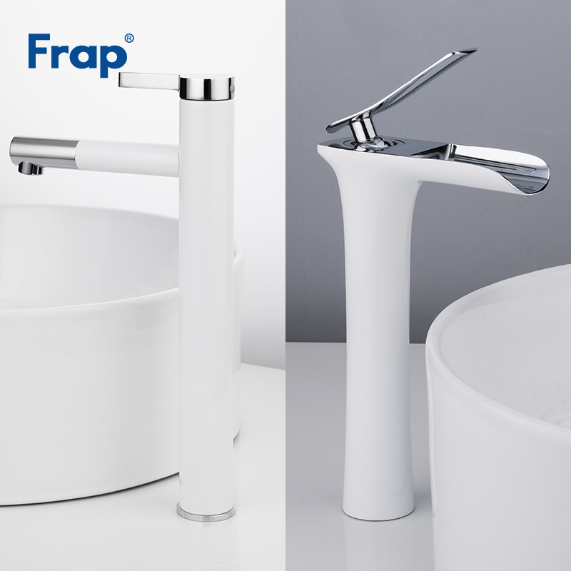 Frap White Basin Faucets Waterfall Bathroom Faucet Single handle Basin Mixer Tap Bath Faucet Brass Sink Water Crane F1052-15/53