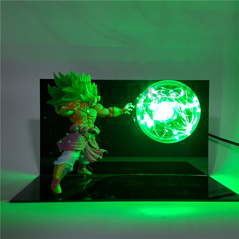 Dragon Ball Z Broly Süper Saiyan Action Figure Kamehameha Led Masa lamba Anime Dragon Ball Z DBZ Koleksiyon Model Oyuncak Son Goku