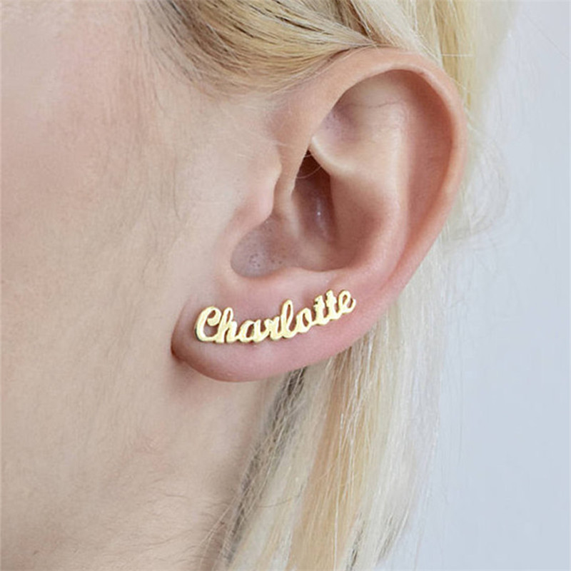 DIANSHANGKAITUOZHE Web Celebrity Earrings Individuality Alphabet Customization Name Earrings Rose Gold Unique Temperament