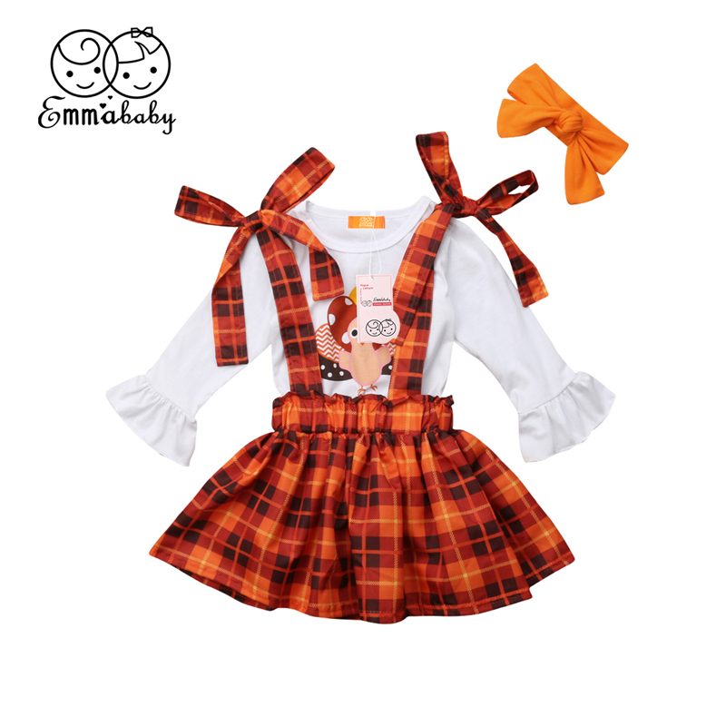 3PCS Thanksgiving Outfit Baby Girls Clothing Set Kids Flare Sleeve T-shirt Tops+Suspender Plaid Skirt+Headband Children Clothes