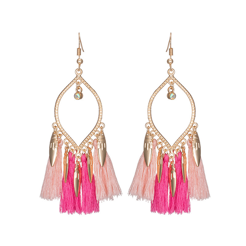 Women fashion statement golden sequins bohemian ethnic tassel fringe drop earrings 2017 hanging dangle wedding jewelry