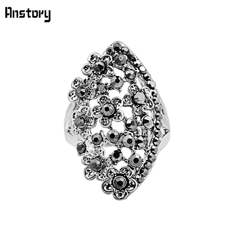 Vintage Jewelry Rhinestone Personality Romantic Flower Antique Rings Engagement For Women TR535